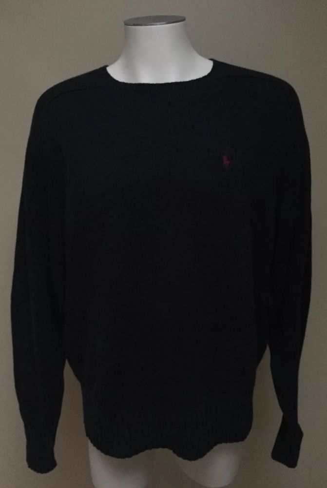 a9dee486c625  POLO RALPH LAUREN  Men s Black Classic Knit Cotton Crew Neck Red Pony  Sweater M