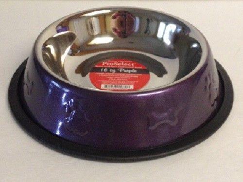 Set of 2 ~ ProSelect Bone Paw Embossed Cat Dog Bowl ~ Purple 16 oz Stainless…