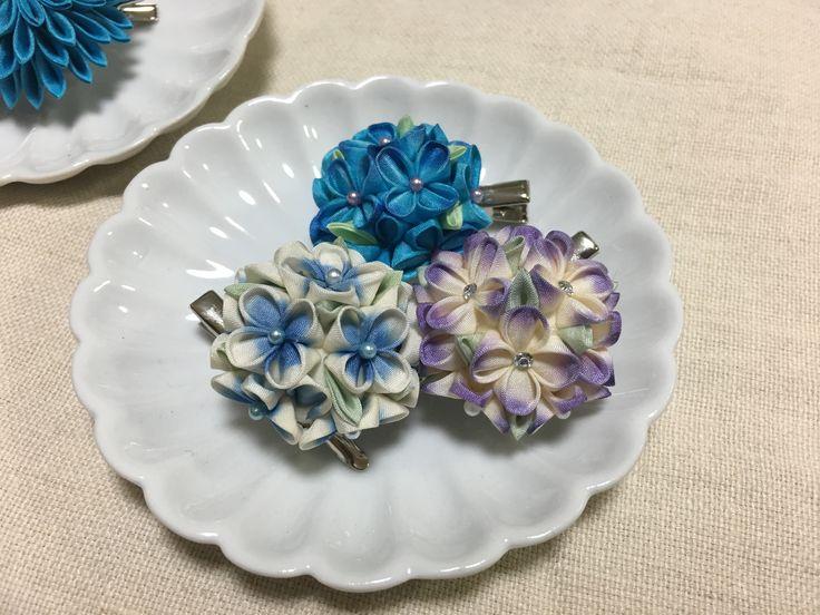 つまみ細工の紫陽花#雪元亭