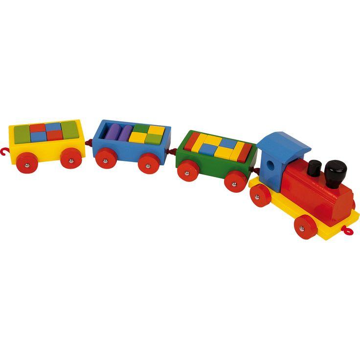 Trenulețul de lemn este jucăria ideală pentru copii pasionați de mașinuțe dar și de construit. Trenulețul dispune de 3 remorci stabile umplute ochi de cărămizi glazurate, gata pentru a ajunge la destinație. #woodentoys #woodentrain #jucariidinlemn #jucariionline #woodencars #woodencubes