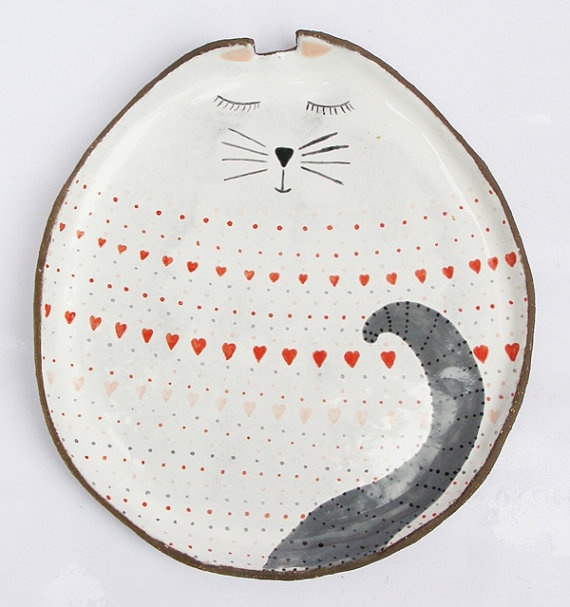 Cat plate with so many dots and hearts... by clayopera on Etsy, $39.00