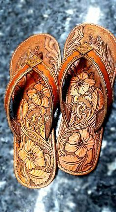 Leather tooled sandals