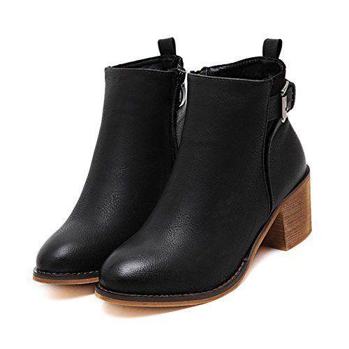Meeshine Women's Pointed Toe Black Martin Boot Zip Up Synthetic Leather Buckle Strap Platform Chunky Heel Chelsea Ankle Boots (8 B(M) US) * You can find out more details at the link of the image.