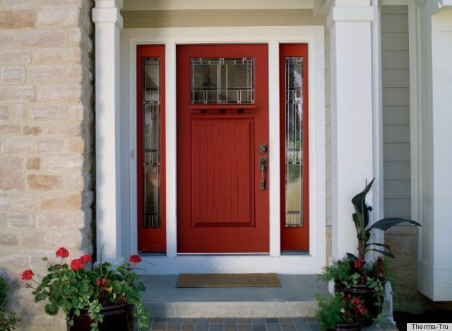 Simple Red Front Door Black Shutters Find This Pin And More On Unique Intended Design Ideas