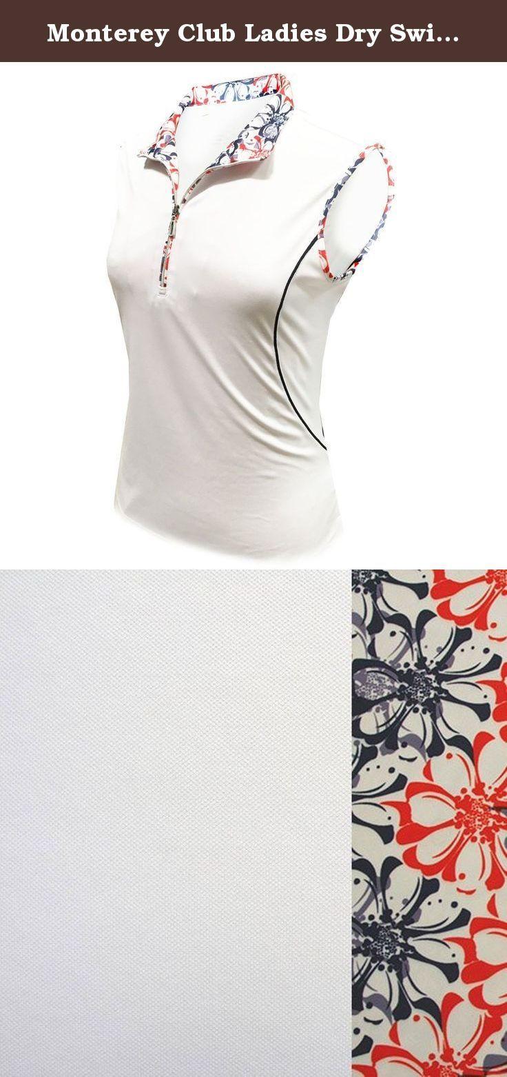 Monterey Club Ladies Dry Swing Daisy Stamp Sleeveless Contrast Shirt #2358 (White/Navy, Large). Monterey Club Ladies Dry Swing Daisy Stamp Sleeveless Contrast Shirt #2358 (White/Navy, Large).