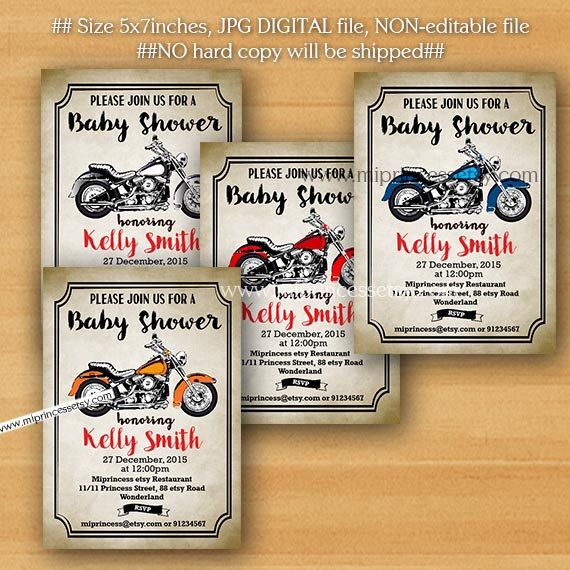 Motorcycle baby shower Invitation baby boy it's a by miprincess