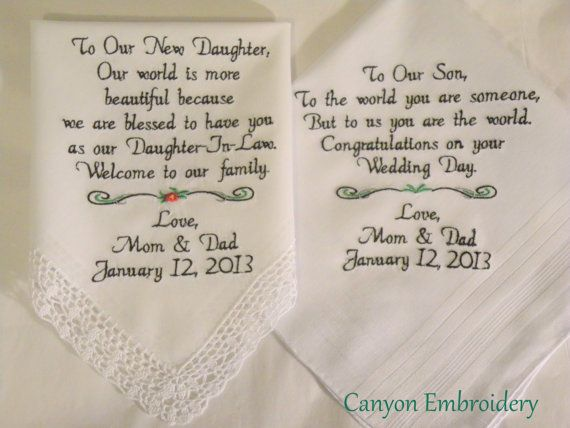 Daughter Son In Law Personalized Poem Christmas Gift: Wedding Gifts Embroidered Wedding Hankercheifs For