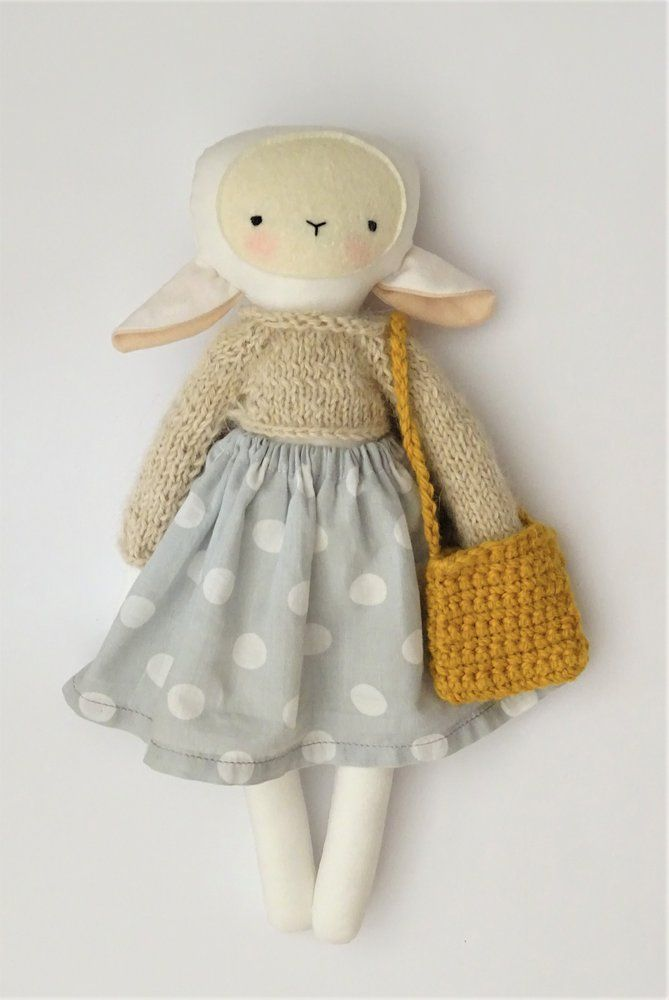Image of White lamb soft doll with mustard bag