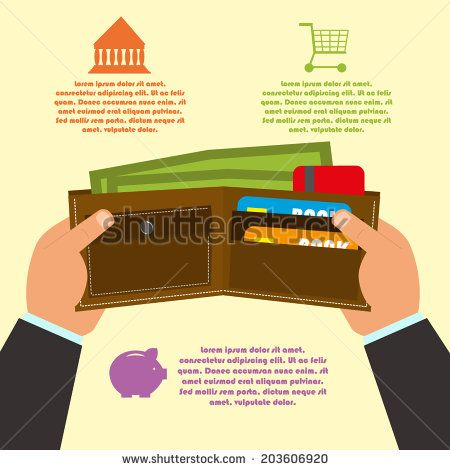 """vector illustration of hands holding wallet with money and cards. the concept of """"buy now"""". infographics. - stock vector"""
