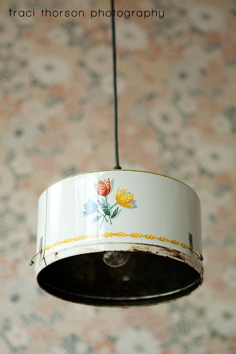 vintage cake tin pan cover repurposed into kitchen light fixture. recycle, upcycle, salvage, diy, repurpose!