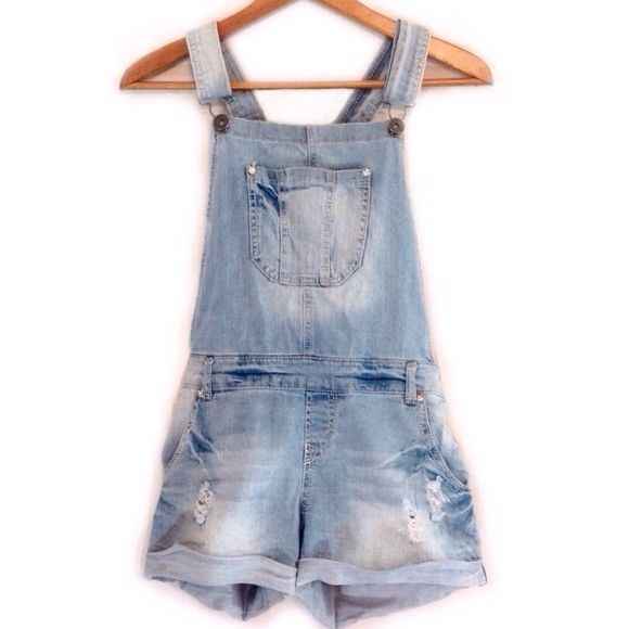Bongo Ladies Women's Distressed Jean Short Overalls Medium #Bongo #Overalls #Casual