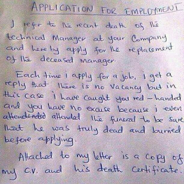 funny job applications letters