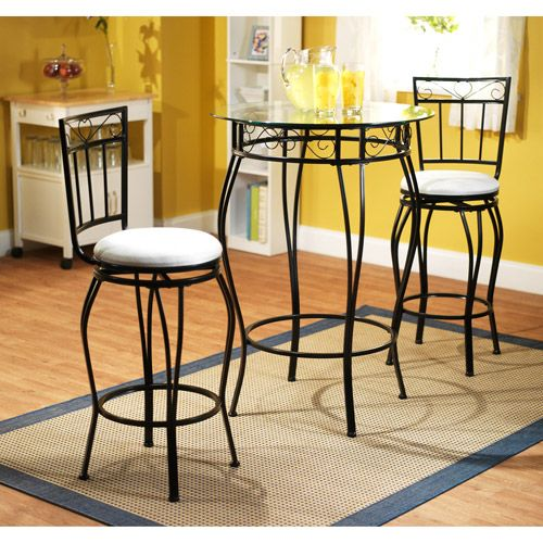 Gabriella 3 Piece Pub Set, Metal And White: Furniture