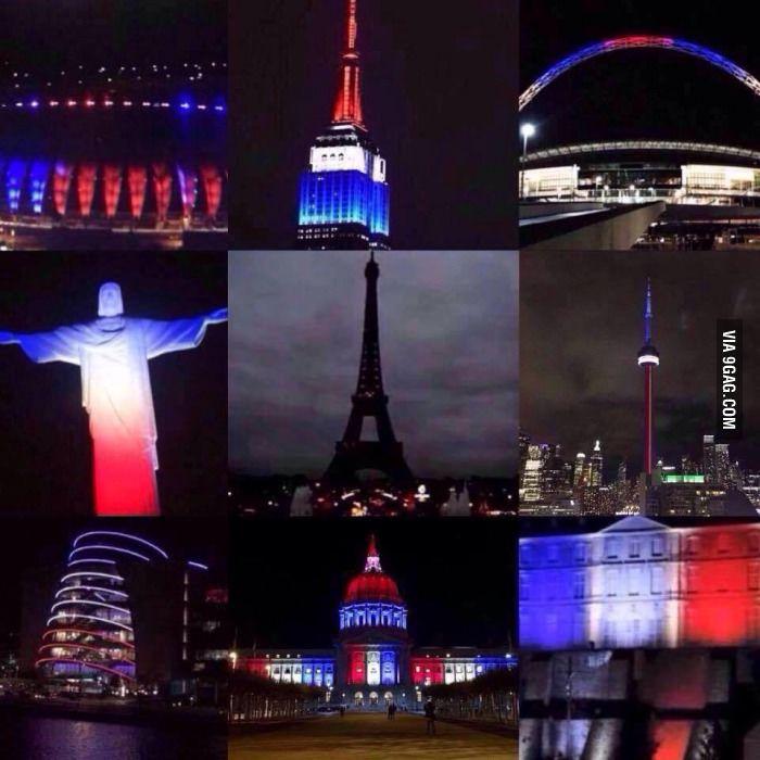 Landmarks lit up to support France - 9GAG