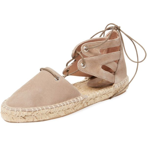Maiden Lane Maiden Lane Women's Lace-Up Espadrille Flat - Light/Pastel... ($85) ❤ liked on Polyvore featuring shoes, flats, ankle strap flats, ankle wrap flats, lace up espadrille flats, flat espadrilles and metallic flats