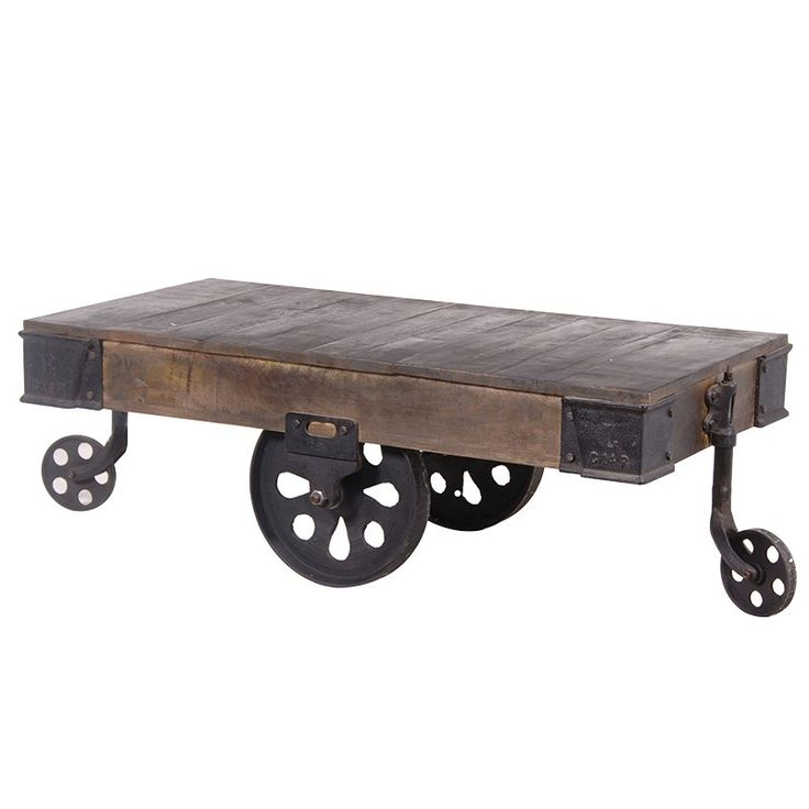 An industrial rustic wooden cart coffee table with wheels, featuring  reclaimed wooden top and rustic metal accents. An urban