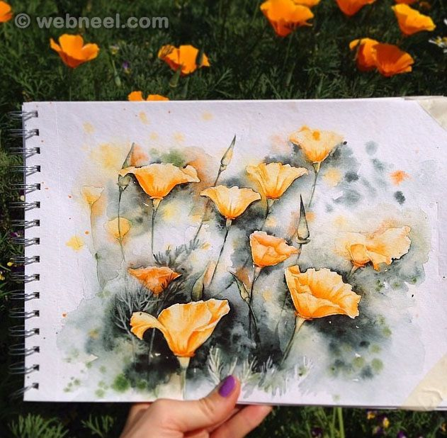 Flower watercolor paintings by elena http://webneel.com/watercolor-paintings | Design Inspiration http://webneel.com | Follow us www.pinterest.com/webneel