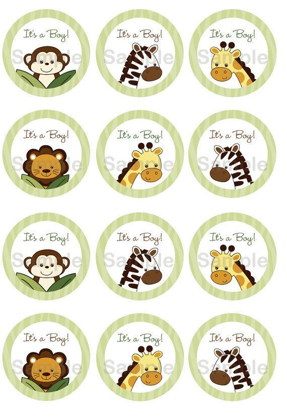 Safari Friends Jungle Animal Cupcake Toppers / Party Favor Tags ...