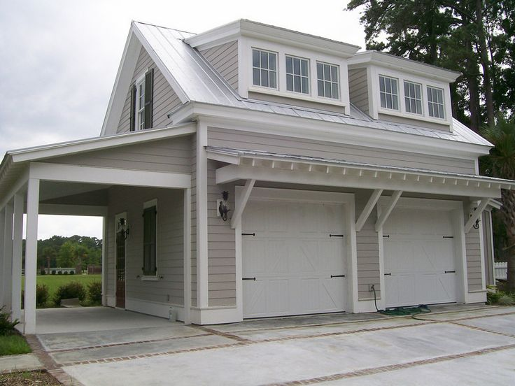 2 car garage with overhang concrete and brick pavers for Garage overhang