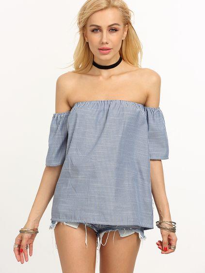 Off-The-Shoulder Vertical Striped Blouse - Blue