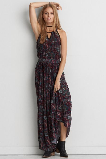 01c78fefbbd5 American Eagle Outfitters AE Floral Hi-Neck Maxi Dress