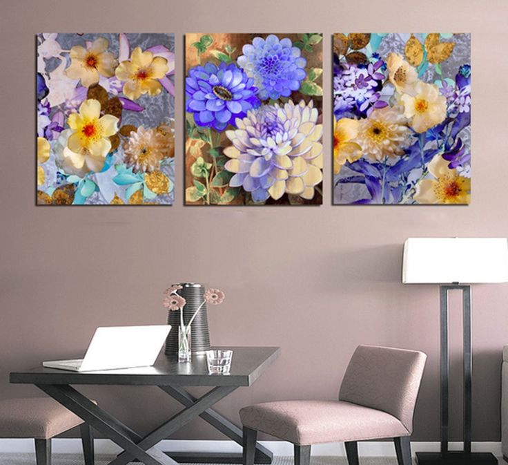 Amazon.com: Hot Sell 3 Panels 40 x 60 cm Modern Wall Painting Flowers In Lots Of Delicious Colors Picture Home Decorative Art Paint On Canvas Prints: Posters & Prints