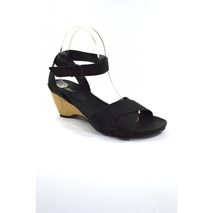 Sandalia de cuña negra - SAO31 Sandalia de cuña negra de la cat