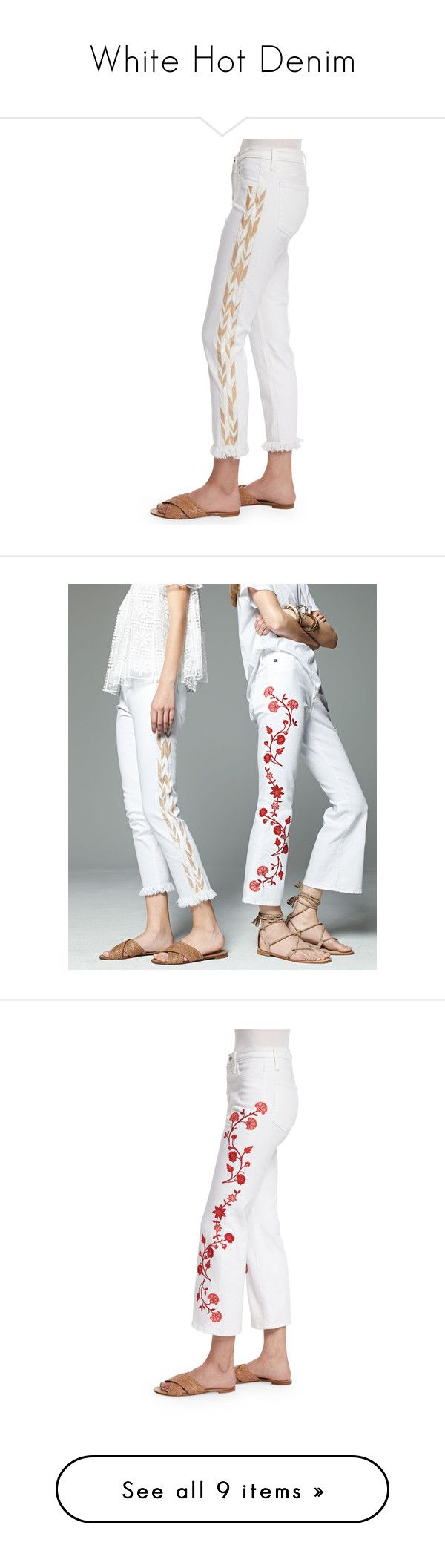 """White Hot Denim"" by neimanmarcus ❤ liked on Polyvore featuring jeans, white pants, ag adriano goldschmied, white crop pants, cropped pants, mid rise pants, cropped flared jeans, fitted jeans, embroidery jeans and flare jeans"