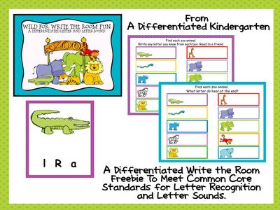 A Write the Room Freebie from A Differentiated Kindergarten to Meet Common Core Standards in Letter Recognition/Sounds