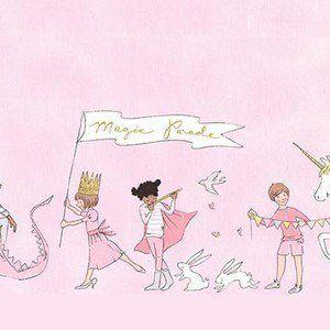 Sarah Jane - Magic Flannel - Unicorn Parade Double Border Flannel in Blossom