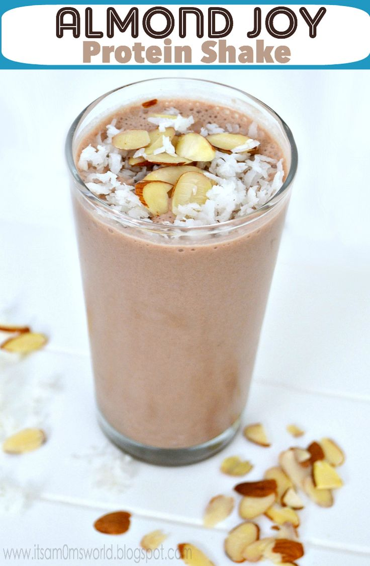 Almond Joy Protein Shake. 1/2 cup almond milk, 2 tbsp. shredded coconut, 2 tbsp. sliced almonds, ice, chocolate protein powder. Blend.