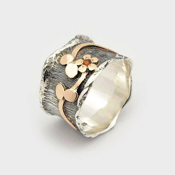 Garnet flower ring, Garnet Wave Ring, Flower design ring, Wide floral Ring, flower ring, Leaf band ring, SIlver gold ring, Nature motif ring