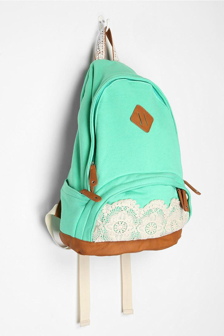 Schools Bags, Back To Schools, Fashion, Mint Green, Urban Outfitters, Style, Blue Lace, Lace Backpacks, Accessories