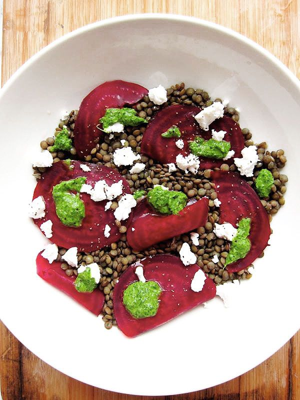 FAVORITE!  Rachel Khoo's lentil salad with goat cheese, beetroot and dill vinaigrette