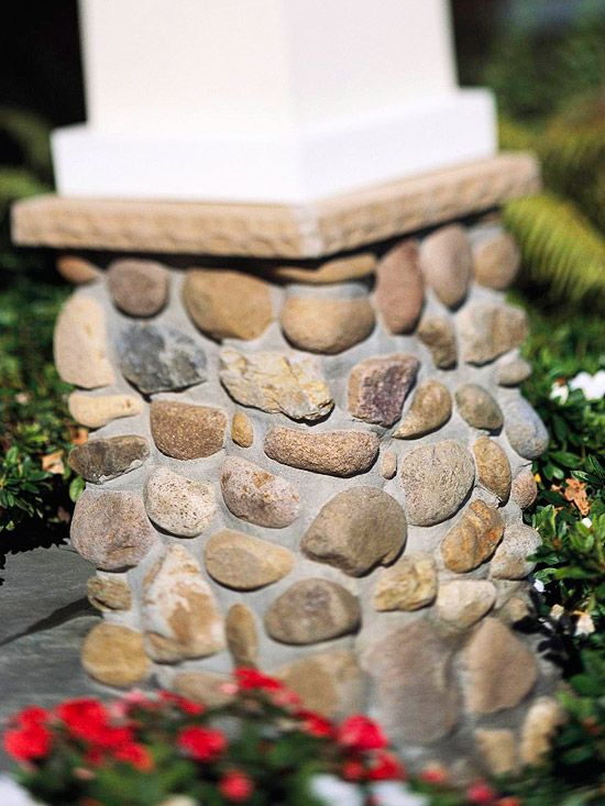 Stone veneer  It's a great option for dressing up exterior features such as concrete foundations, column footings, and other masonry details. Natural and manufactured stone can be costly options for large expanses, but both are affordable and well suited for use as accent material.