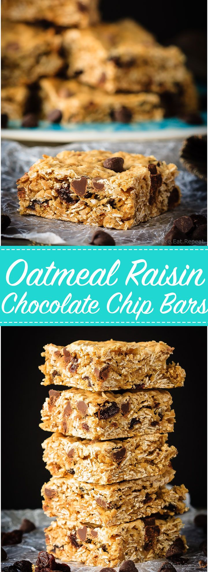 These chewy oatmeal raisin chocolate chip bars are so easy to make and everyone will love them.  Your favourite cookie in bar form!