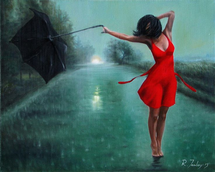 dancing in the rain painting by rauf janibekov star girl pinterest rain. Black Bedroom Furniture Sets. Home Design Ideas