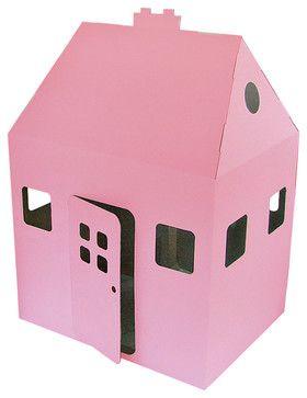 Kid-Eco Cardboard Playhouse, Pink - modern - kids toys - Totslots