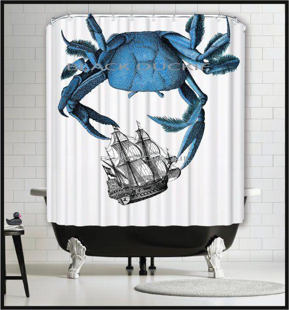Blue Crab Shower Curtain Crab Shower Curtain Crab Nautical
