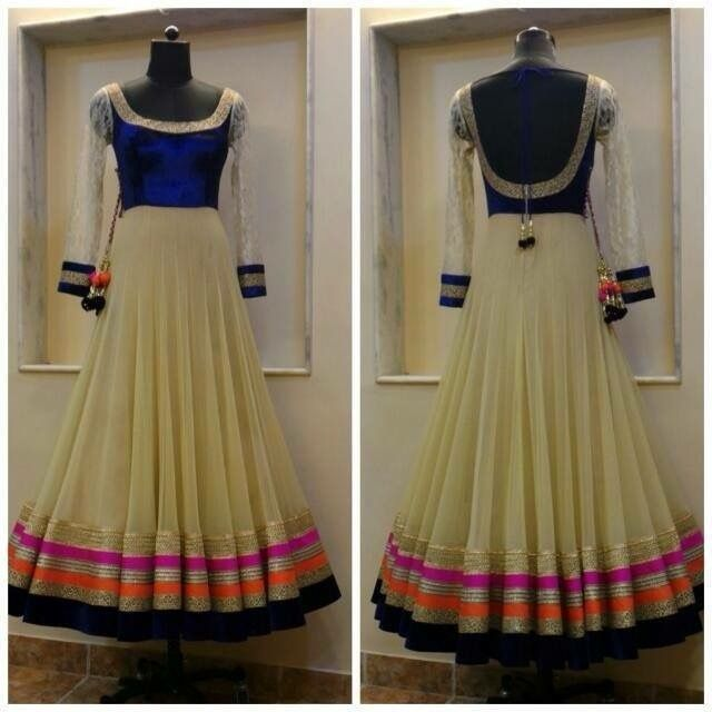 blue and white anarkali