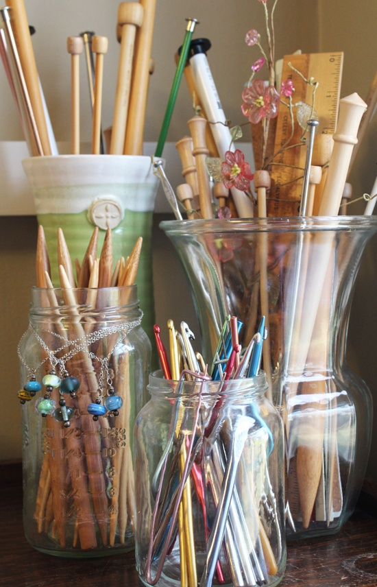Repurpose containers so I don't have 2 dozen knitting needles all over the place!