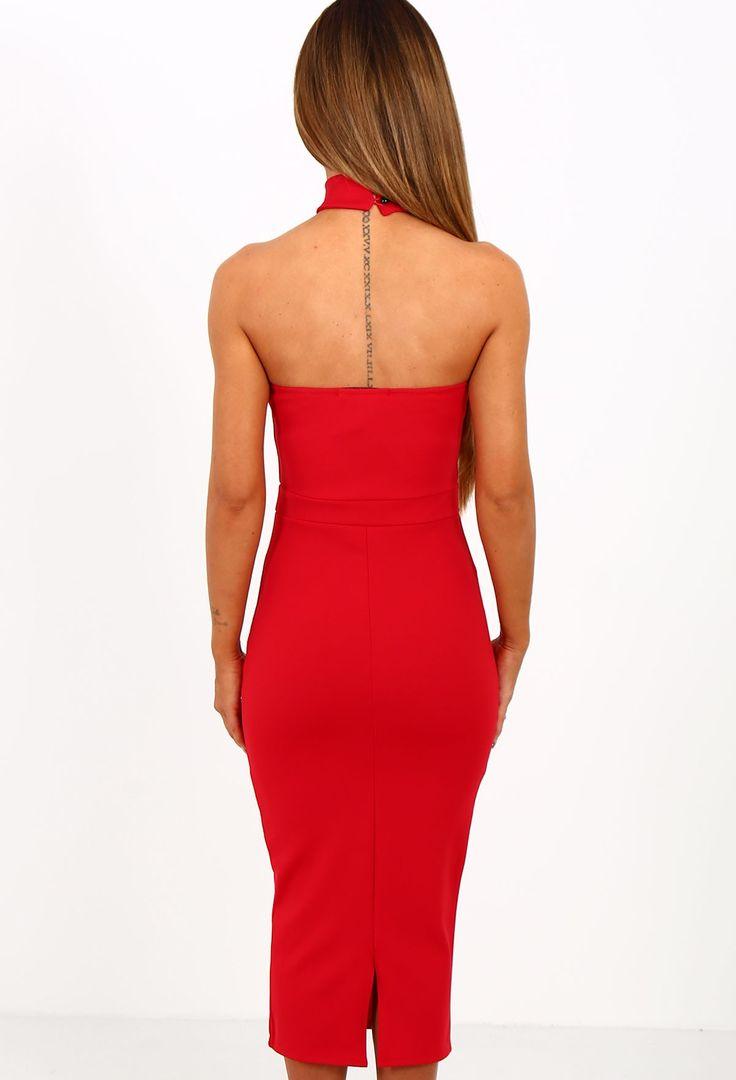 Don't Mind Me Red Mesh Halterneck Midi Dress | Pink Boutique