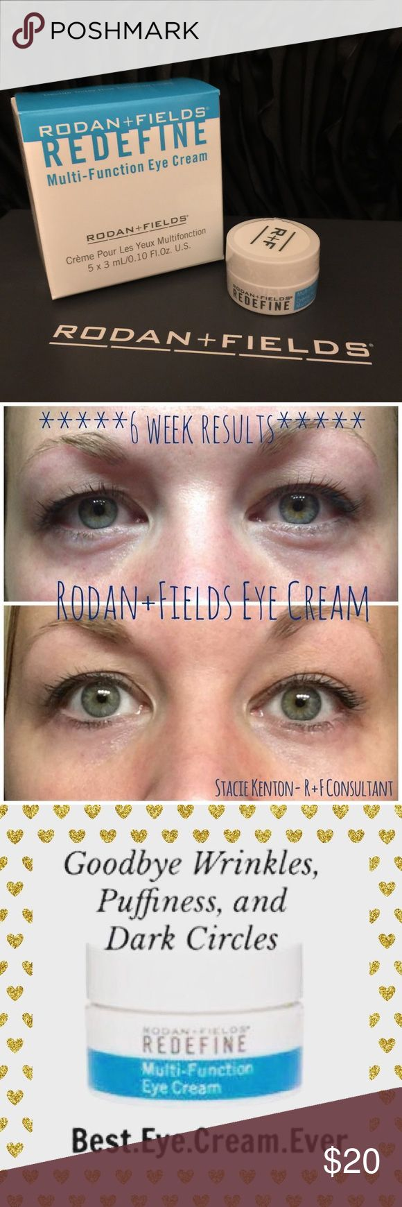 ✨Rodan+Fields MINI MultiFunction Eye Cream✨ This is for 1 of 10 MINIS that I have 💙Tired of waking up to dark circles and puffiness under the eyes? Look on the bright side this winter and start using REDEFINE Multi-Function Eye Cream. It's packed with powerful anti-aging peptides to help minimize the appearance of crow's feet and puffiness, while brightening up the eye area 💁🏻 Rodan+Fields Makeup
