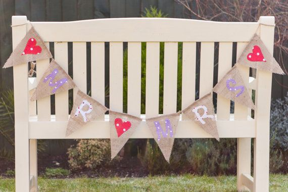 Mr & Mrs With Hearts Bunting  Stitched Vintage by MadeByMeAndMum