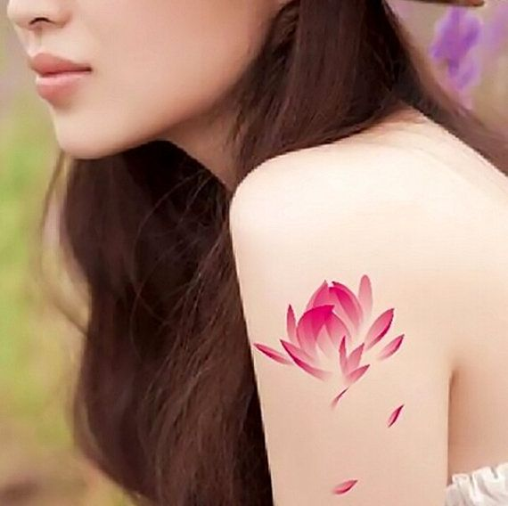 2pcs Pink Lotus temporary tattoo fake tattoo body art small tattoo Chinese Style tattoo