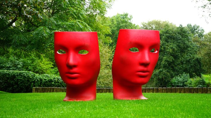#acting #art #color #creative #design #drama #entertainment #face #grass #mask #nature #outdoors #park #play #red #sculpture #show #summer #symbol #theater #theatre #theatrical #trees
