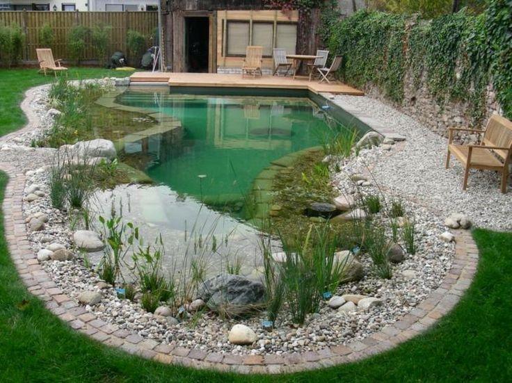 piscine naturelle de forme irrégulière, gravier décoratif et naturelle naturelle, banc en bois massif et chaises longues assorties