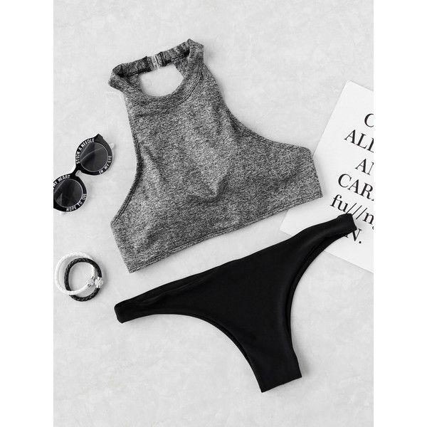 Halter Cut Out Mix & Match Bikini Set featuring polyvore, women's fashion, clothing, swimwear, bikinis, grey, cut out bikini, bikini two piece, halter bikini, push up halter bikini and halter cut out bikini