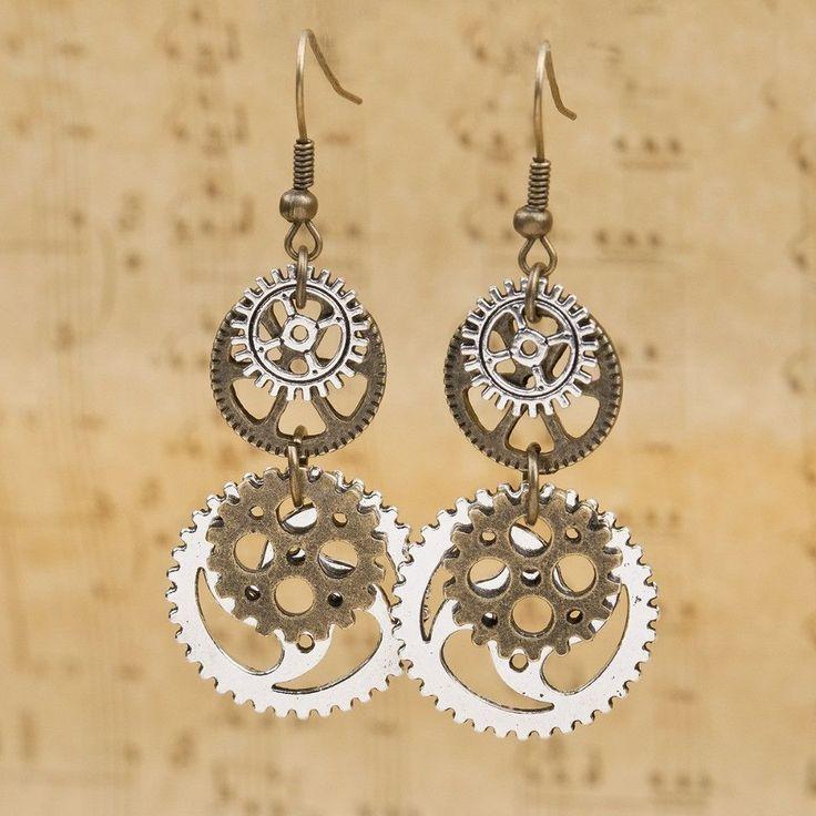 Steampunk Earrings Antique Bronze Gear Pendants Earring Type: Drop Earrings Item Type: Earrings Gender: Women Style: Vintage Metals Type: Zinc Alloy Shape\pattern: Round