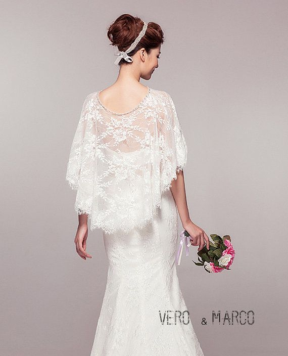 Ivory Romantic Alencon lace bridal capelet lace cloak wedding cape cover up Bolero Schrug